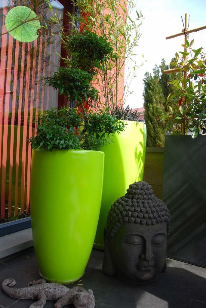 Aménagement d'une terrasse dans un style japonisant.