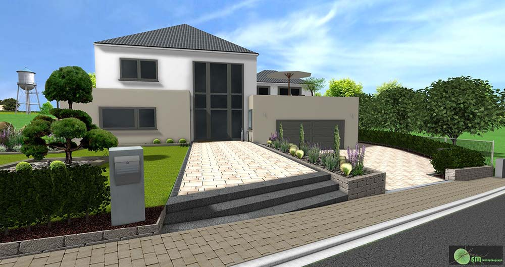 Aménagement de l'entrée devant la maison par l'intégration de deux paliers.